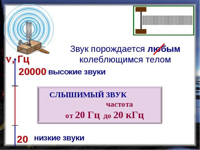 Звук порождается любым колеблющимся телом 20 20000 , Гц низкие звуки высокие...