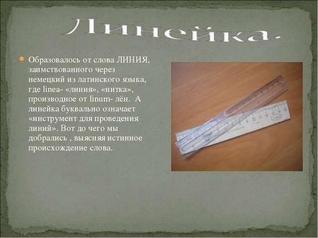 Образовалось от слова ЛИНИЯ, заимствованного через немецкий из латинского язы...
