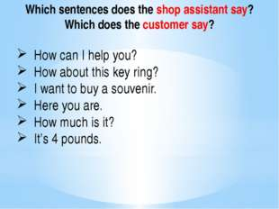 Which sentences does the shop assistant say? Which does the customer say? How