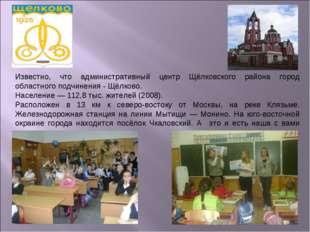 Известно, что административный центр Щёлковского района город областного подч