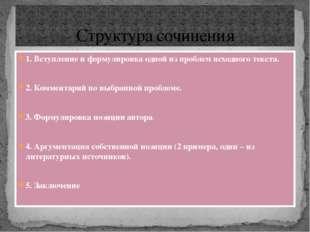 Структура сочинения 1. Вступление и формулировка одной из проблем исходного т