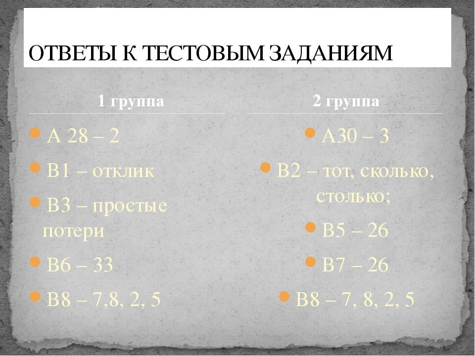 1 группа А 28 – 2 В1 – отклик В3 – простые потери В6 – 33 В8 – 7,8, 2, 5 А30...