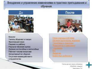 До После Внедрение и управление изменениями в практике преподавания и обучени