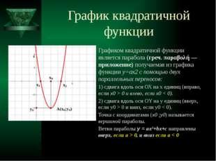 График квадратичной функции Графиком квадратичной функции является парабола (