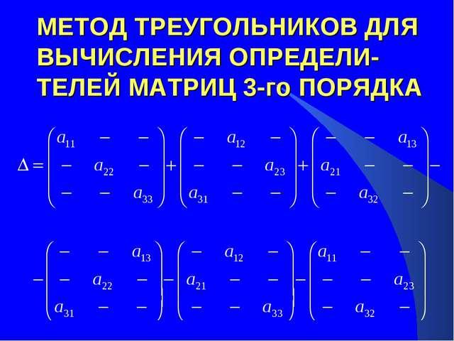 МЕТОД ТРЕУГОЛЬНИКОВ ДЛЯ ВЫЧИСЛЕНИЯ ОПРЕДЕЛИ-ТЕЛЕЙ МАТРИЦ 3-го ПОРЯДКА