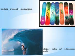 сёрфинг — surfing — surf — гребень волны, прибой сноуборд — snowboard — «снег