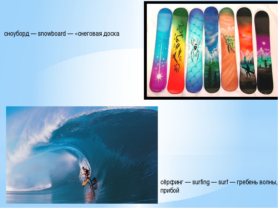 сёрфинг — surfing — surf — гребень волны, прибой сноуборд — snowboard — «снег...