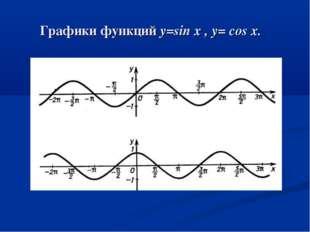 Графики функций y=sin x , y= cos x.