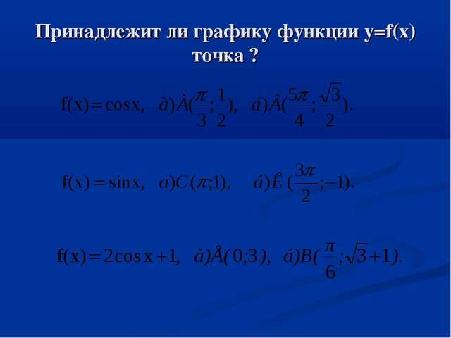 Принадлежит ли графику функции y=f(x) точка ?