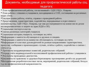 Документы, необходимые для профилактической работы соц. педагога: План профил
