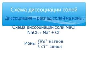 Схема диссоциации солей Диссоциация – распад солей на ионы.