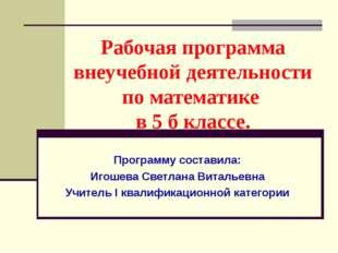 Рабочая программа внеучебной деятельности по математике в 5 б классе. Програм