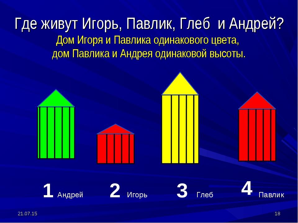 Где живут Игорь, Павлик, Глеб и Андрей? Дом Игоря и Павлика одинакового цвета...