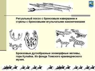Ритуальный посох с бронзовым навершием и стрелы с бронзовыми втульчатыми нако