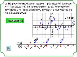 2. На рисунке изображен график производной функции у =f /(x), заданной на про