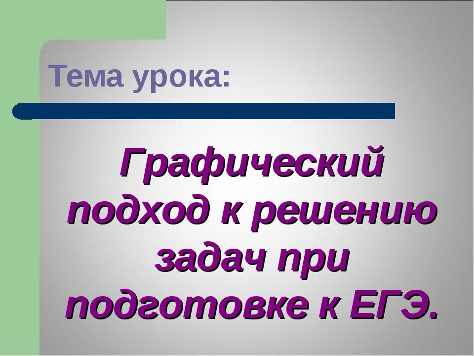 Тема урока: Графический подход к решению задач при подготовке к ЕГЭ.