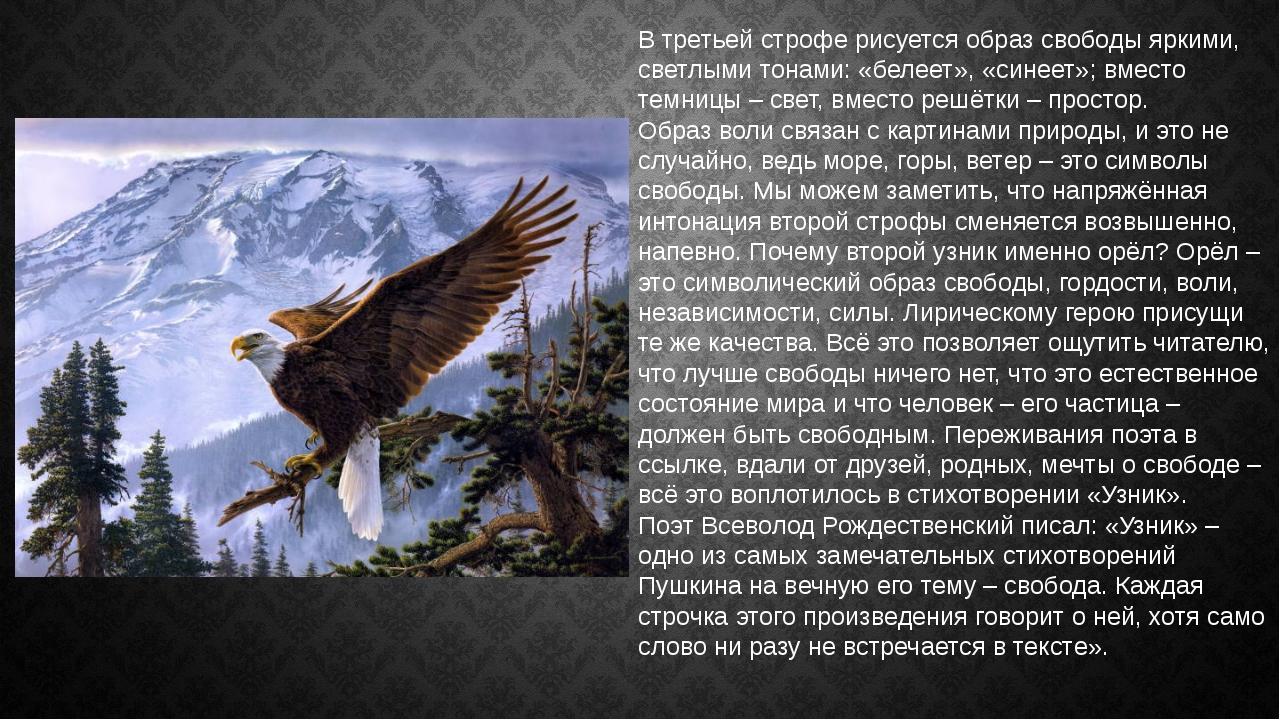 В третьей строфе рисуется образ свободы яркими, светлыми тонами: «белеет», «с...