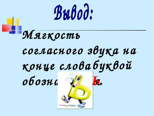 Мягкость согласного звука на конце слова обозначается буквой Ь.