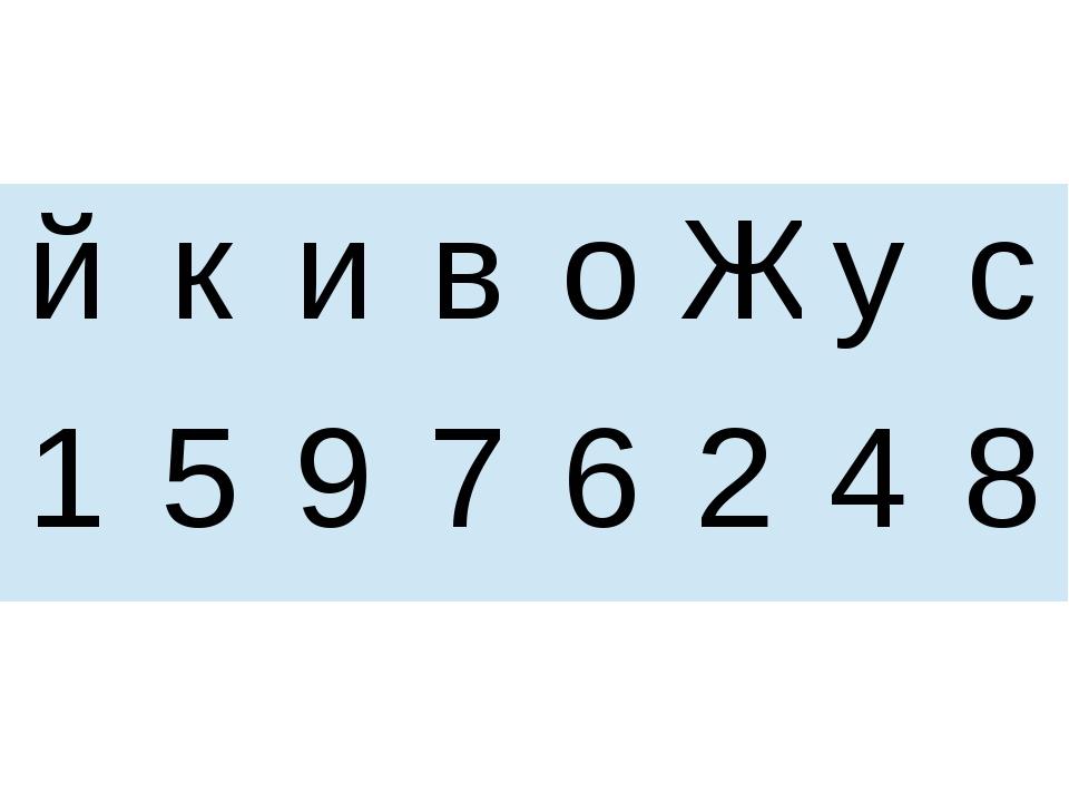 й к и в о Ж у с 1 5 9 7 6 2 4 8
