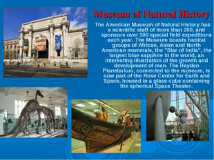 Museum of Natural History The American Museum of Natural History has a scient