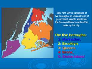 The five boroughs: 1:Manhattan, 2:Brooklyn, 3:Queens, 4:Bronx, 5:Staten