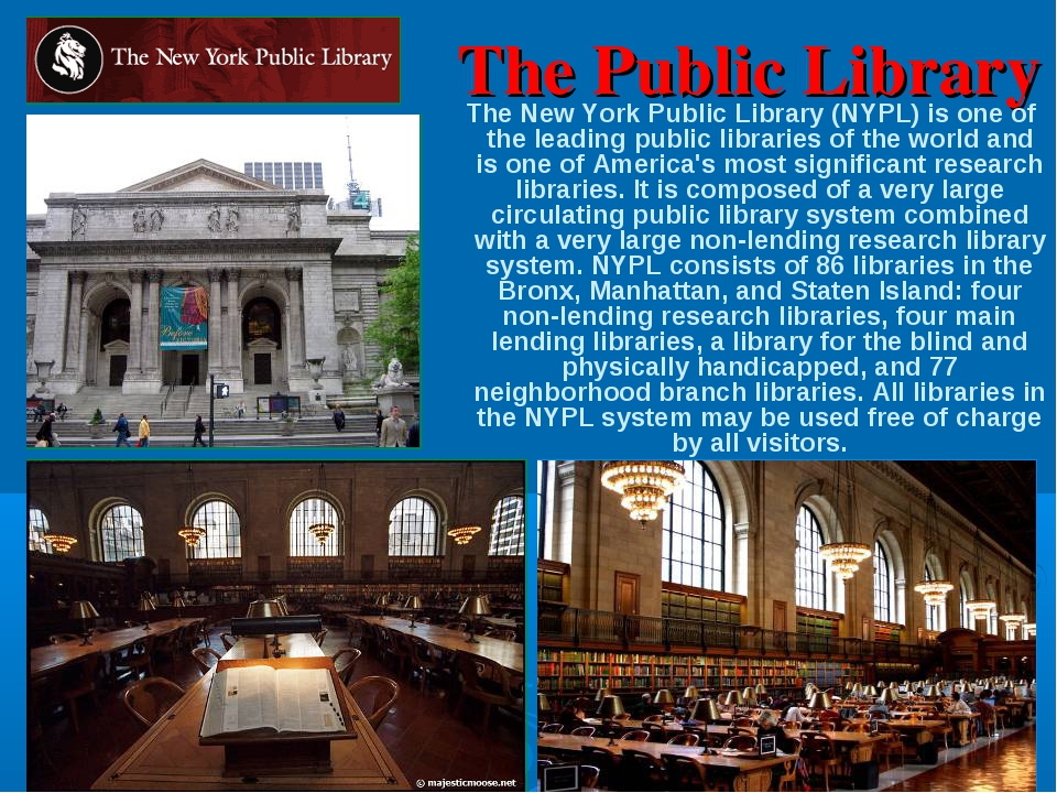 The Public Library The New York Public Library (NYPL) is one of the leading p...