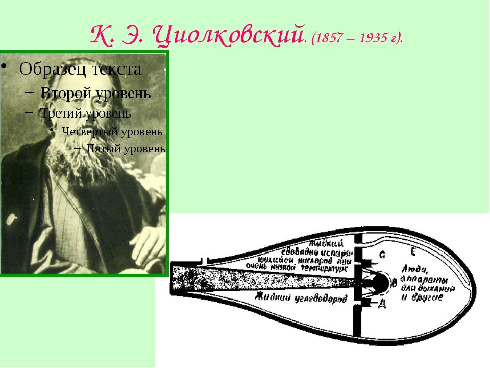 К. Э. Циолковский. (1857 – 1935 г).