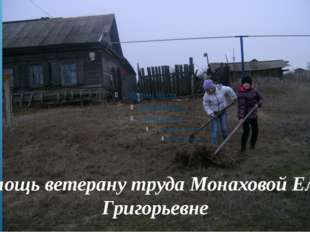 Помощь ветерану труда Монаховой Елене Григорьевне