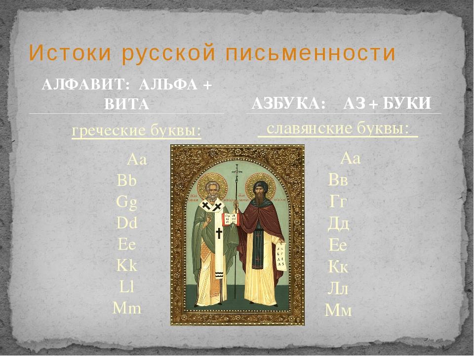 Истоки русской письменности АЗБУКА: АЗ + БУКИ греческие буквы: Aa Bb Gg Dd...