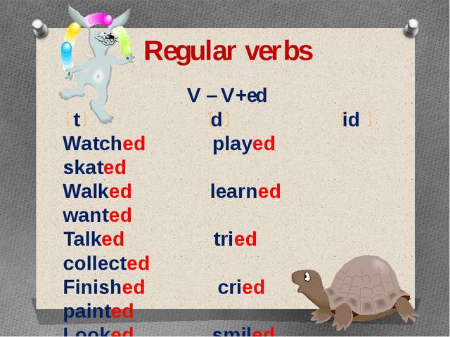 Regular verbs V – V+ed t d id Watched played skated Walked learned wanted Tal...