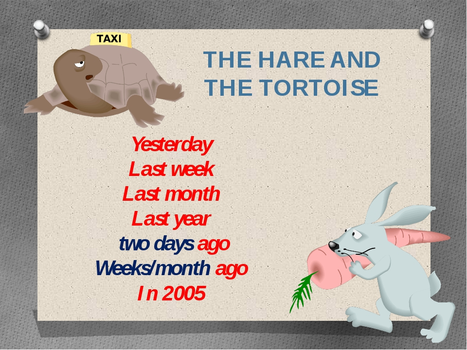THE HARE AND THE TORTOISE Yesterday Last week Last month Last year two days a...