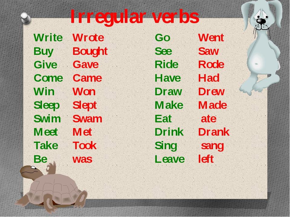 Irregular verbs Write Buy Give Come Win Sleep Swim Meet Take Be Go See Ride H...