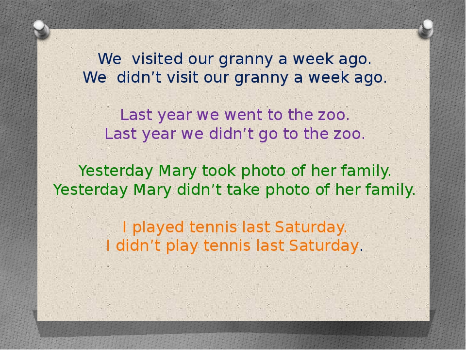 We visited our granny a week ago. We didn't visit our granny a week ago. Last...