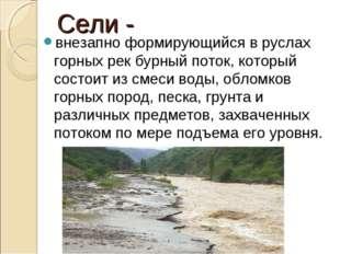 Сели - внезапно формирующийся в руслах горных рек бурный поток, который состо