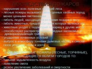 ПОСЛЕДСТВИЯ ПОЖАРОВ - нарушение всех полезных функций леса - лесные пожары вы