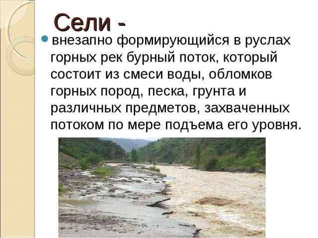 Сели - внезапно формирующийся в руслах горных рек бурный поток, который состо...