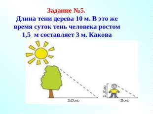 Задание №5. Длина тени дерева 10 м. В это же время суток тень человека ростом