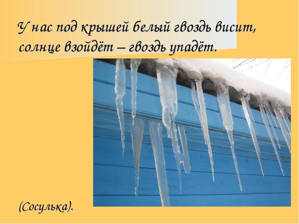 У нас под крышей белый гвоздь висит, солнце взойдёт – гвоздь упадёт. (Сосульк...