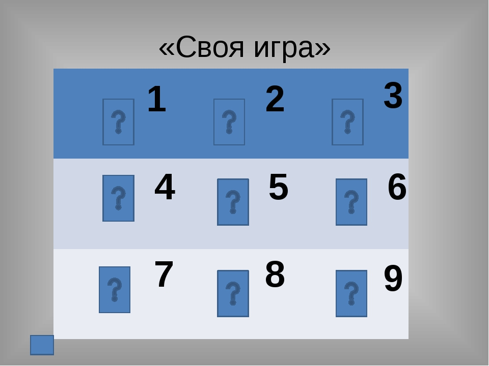 «Своя игра» 1 2 3 4 5 6 7 8 9