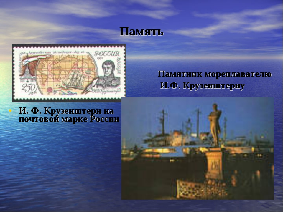 Память И.Ф.Крузенштерн на почтовой марке России Памятник мореплавателю И.Ф....