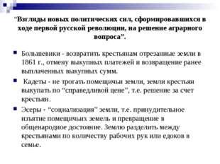 """""""Взгляды новых политических сил, сформировавшихся в ходе первой русской револ"""