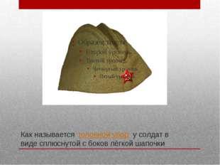 Как называется головной убор у солдат в виде сплюснутой с боков лёгкой шапо