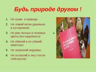 Будь природе другом ! Не шуми в природе. Не ломай ветки деревьев и кустарнико