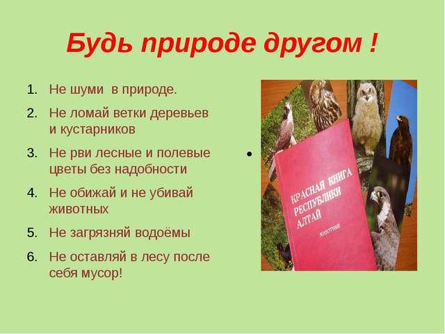 Будь природе другом ! Не шуми в природе. Не ломай ветки деревьев и кустарнико...