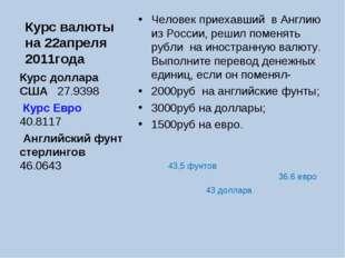 Курс валюты на 22апреля 2011года Человек приехавший в Англию из России, решил
