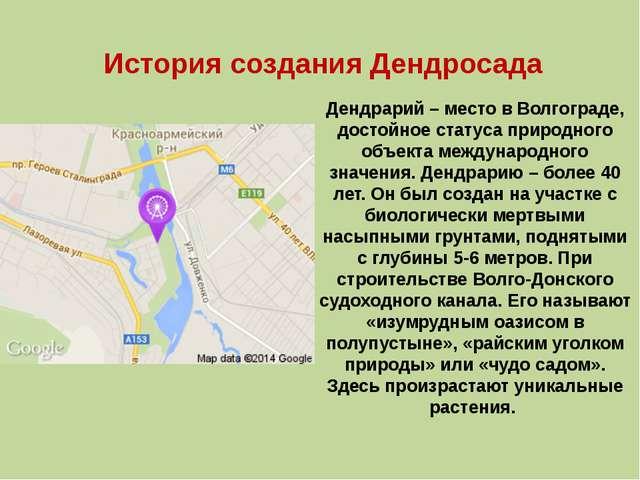 Дендрарий– место в Волгограде, достойное статуса природного объекта междунар...