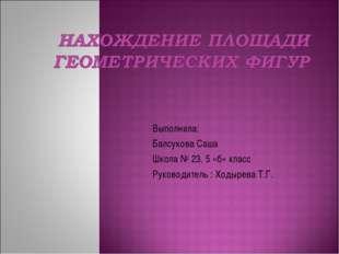 Выполнила: Балсукова Саша Школа № 23, 5 «б» класс Руководитель : Ходырева Т.Г.