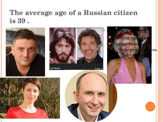 The average age of a Russian citizen is 39 .