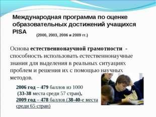 Международная программа по оценке образовательных достижений учащихся PISA (2