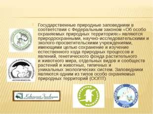 Государственные природныезаповедникив соответствии с Федеральным законом «О